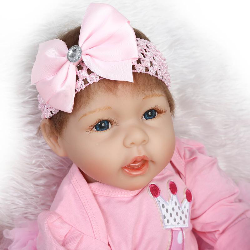 22inch Blue Eyes Princess Doll Soft Silicone Reborn Doll Realistic Dolls 55CM Bebes Infant Doll Lifelike Boneca Toys Brinquedos<br><br>Aliexpress