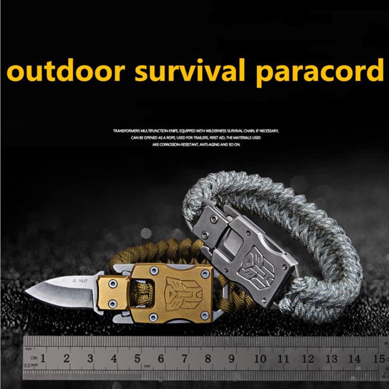 EDC outdoor survival Paracord Multitool Defensive Baton Camp Equipment Bracelet With Folding knife Multi functional self-defense bracelet survival tool (9)_
