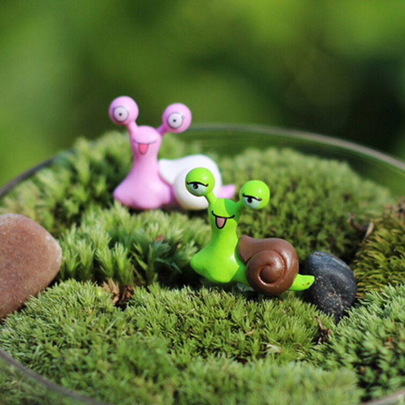 Snails Fairy Garden Miniatures Figurines Jardin Terrarium Decor Home Bonsai Ornaments Moss Micro Landscape Cartoon