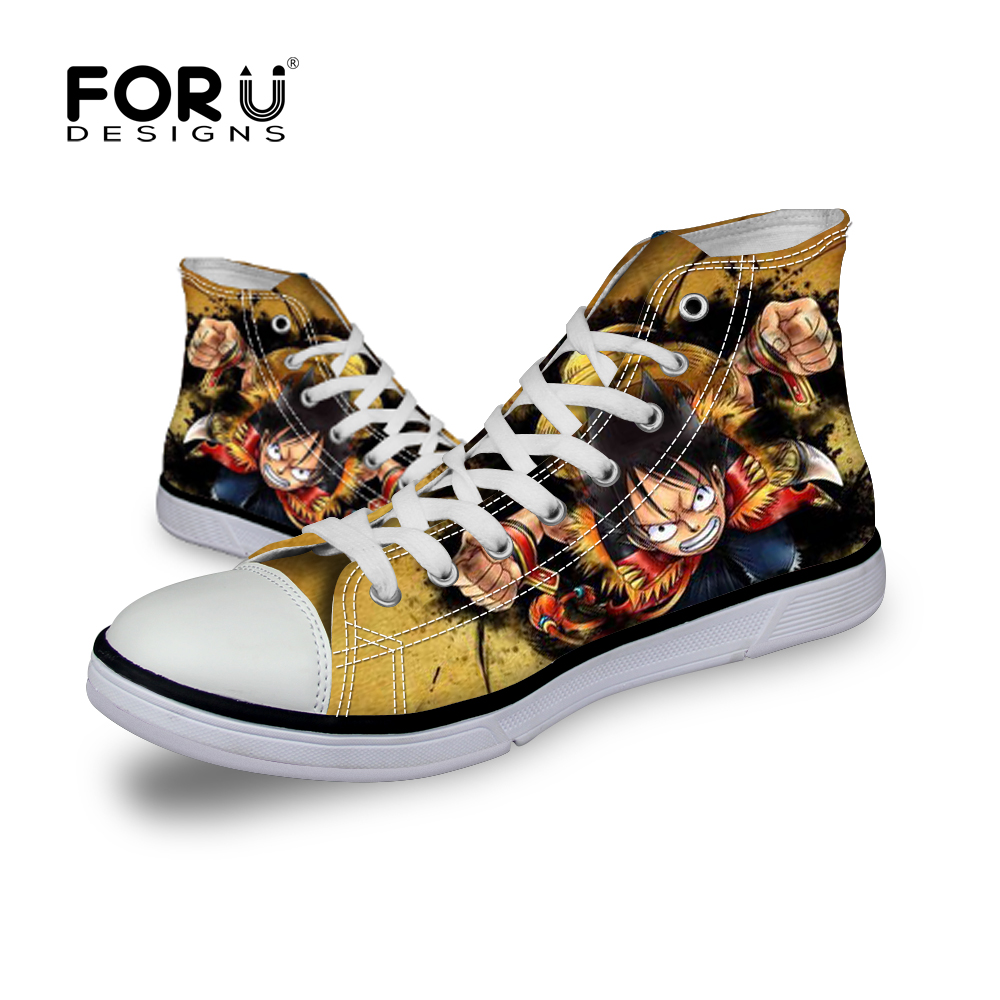 FORUDESIGNS One Piece High Top Printing Canvas Shoes for Boys and Girls Mens Spring Anti-slip Cartoon Flat Walking Shoes<br><br>Aliexpress
