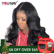 13x6 Lace Front Human Hair Wigs For Women 250% Density Brazilian Body Wave Lace Front Wigs Pre Plucked Non-remy Hair You May(China)