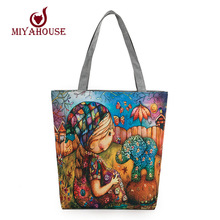 Large Capacity Female Single Shoulder Bag Characters Printed Canvas Tote Handbags Daily Use Canvas Shopping Bag Women Beach Bags