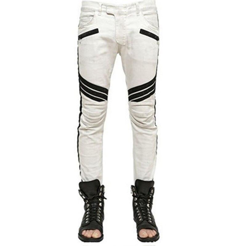 white patchwork frayed Denim Men fear of god dsq balmai ripped men corduroy mens fake designer clothes hip hop baggy jeans diselОдежда и ак�е��уары<br><br><br>Aliexpress
