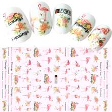 1 Sheet 3d Nail Stickers Tropical Flamingo Pattern Charm Nail Tips Decals Manicure Nail Art Decoration DIY Accessories BEF083(China)