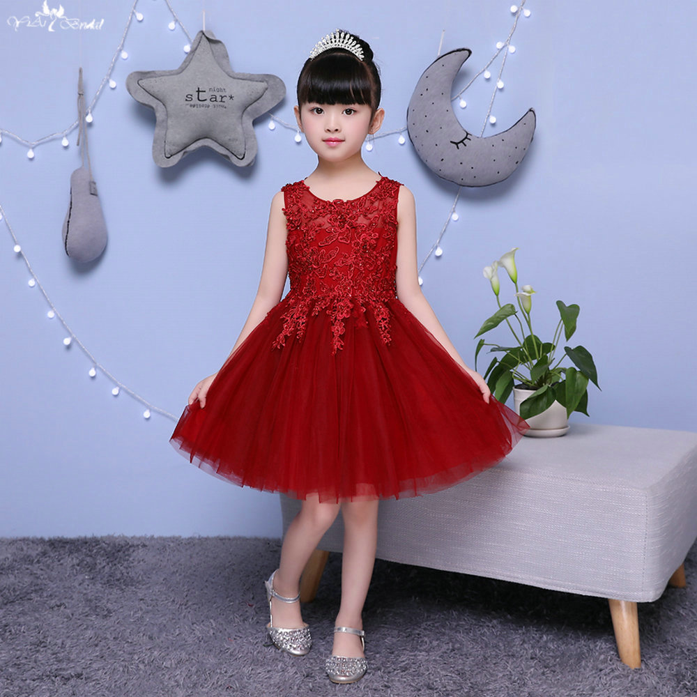 TF005  Red wine Sleeveless O Neckline Fower Girl Dresses Kids Beauty Pageant Dresses