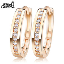 Effie Queen Cute Romantic Style Earrings Jewelry Gold -color Paved with AAA Cubic Zircon Stud Earrings for Women DDE34(China)