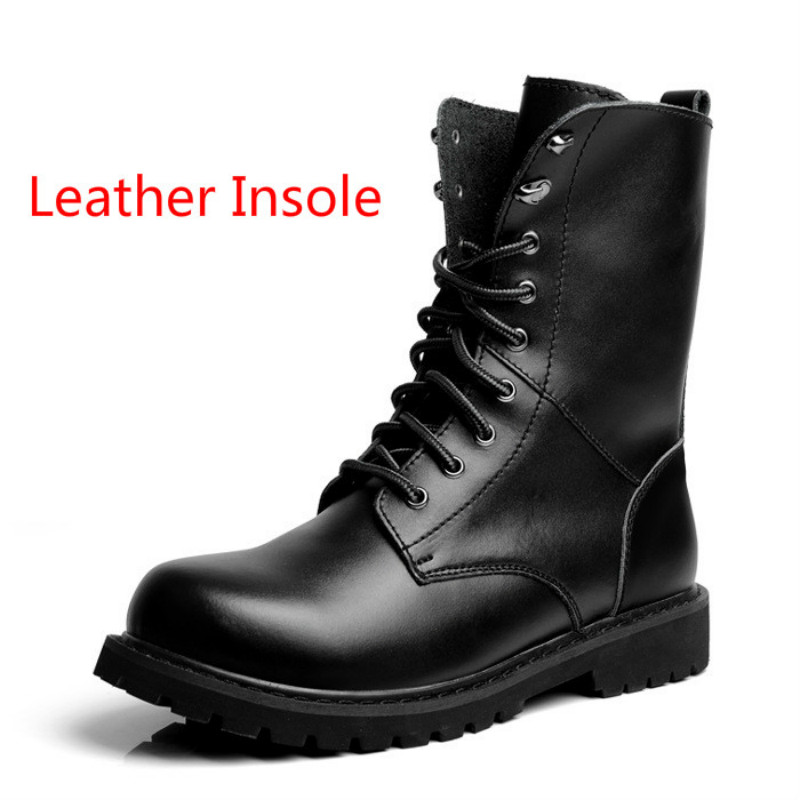 Plus Size Winter Mens Combat Boots Leather Mid Calf Martin Boot Lace Up Warm Plush Shoes Male Special Force Boots For Sale Black<br><br>Aliexpress