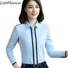 Buy 2018 New busas women clothing long sleeve shirt blue white shirts elegant Formal blouse office ladies plus size work wear tops for $15.99 in AliExpress store