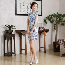 Women Retro Slim Summer Traditional Chinese Dress Cheongsam Qi Pao Floral Printing for Women Evening Dress(China)