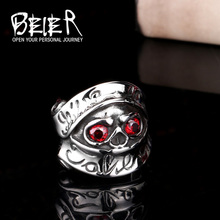 Beier new store 316L Stainless Steel high quality Stars War  Ring For Men With Red CZ Stone Unique Movie Jewelry LLBR8-048R