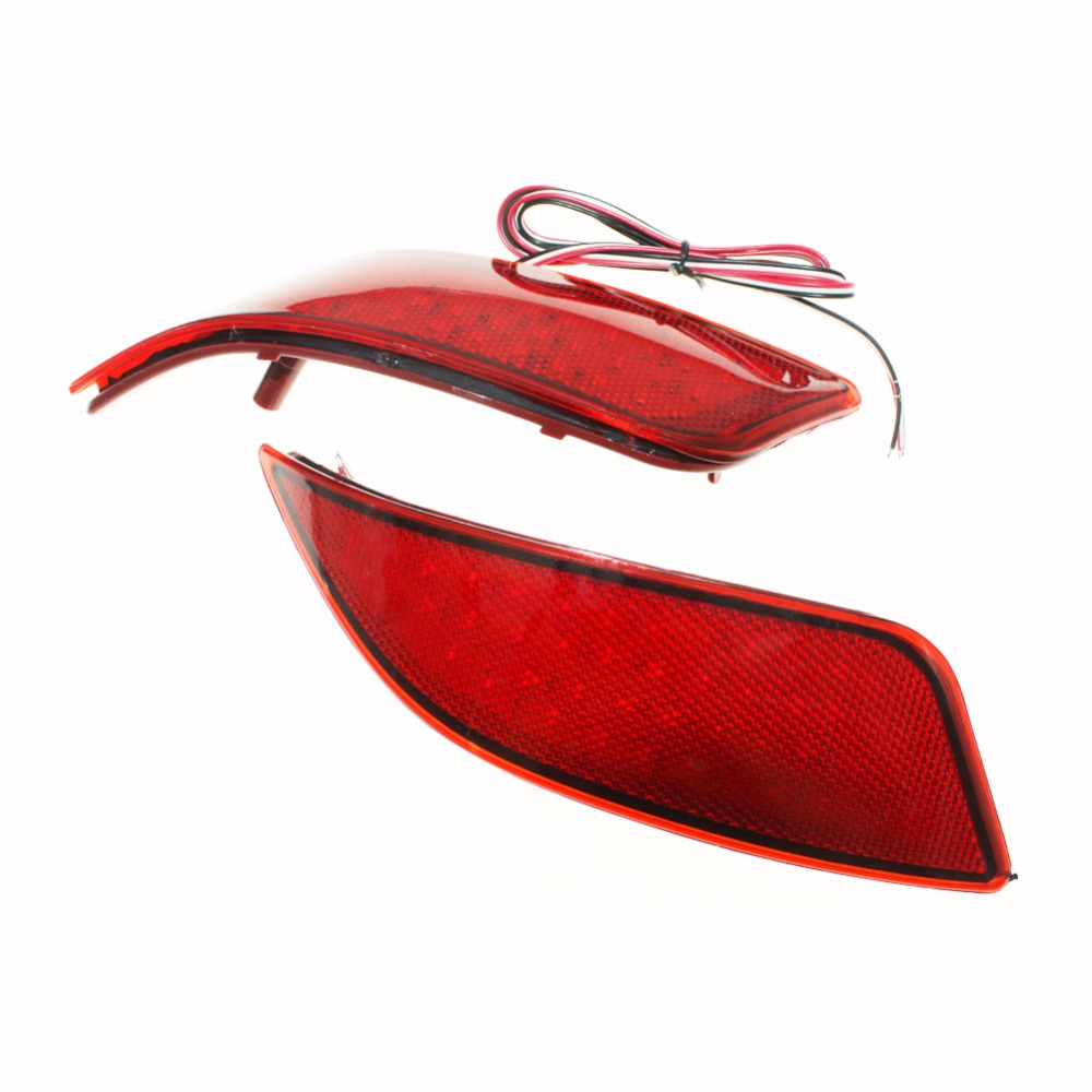 2x Red Lens LED Rear Bumper Reflector Light Tail Brake Parking Warning  Lamp fog Lights fit for Toyota Camry 2015 2016<br>