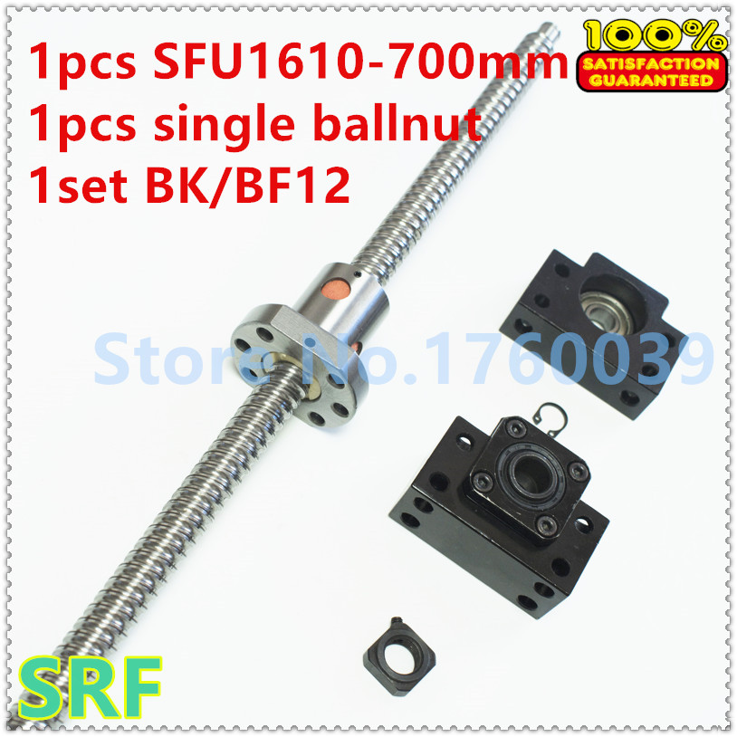 Hot sale!1pcs Dia:16mm Lead:10mm BallScrew 1610 L=700mm Rolled Ball screw SFU1610 with single Ballnut +1set BK/BF12 end support<br>
