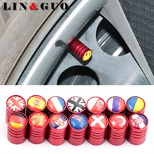4pcs Auto Motorcycle Accessories Car Wheel Tires Valve Cap dust covers For Serbia Canada Czech Norway Korea Japan Belgium Flag(China)