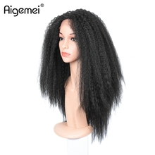 Aigemei Kinky Straight Lace Front Wig Heat Resistant Lace Wig 18inch All Hand Braid Lace Wig(China)