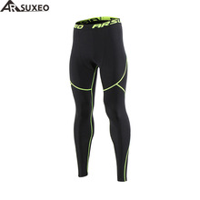 ARSUXEO 2018 Men's Winter Thermal Warm Up Fleece Compression Tights Cycling Base Layers Training Running Tights Pants U81K(China)