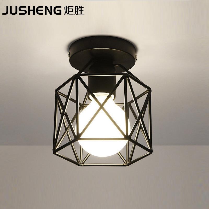 JUSHENG Nordic creative black led ceiling lamp with E27 Socket fashionable iron restaurant balcony study corridor hall lighting