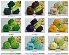 4*50g Skeins Soft Smooth Natural Silk Flax crocheting/baby yarn;200g;lightyellow, black, pink, purple, green etc. can be choosed(China)