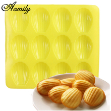 Aomily DIY 12 Cavity Silicone Bakeware Silicone Cake Pan Baking Tools Shell Shape Madeleine Cookie Mold Biscuit Mold Cookie