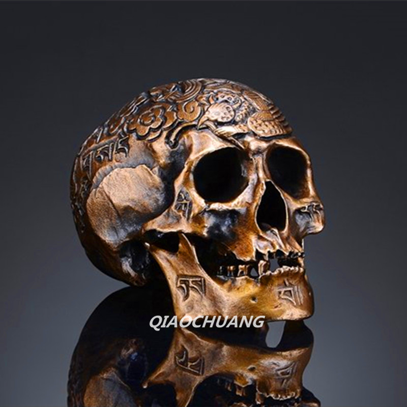 Handmade Bronze Casting Statue Kapala Carved Mini Human Skull Tibetan Buddhism Pisces Bone Metal Crafts Collectible Model Toy(China)