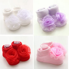 Best Selling 1 Pair 4 colors Kawaii Baby Girl Lace Rose Flowers Socks Infant Toddler Soft Princess Kid Accessories