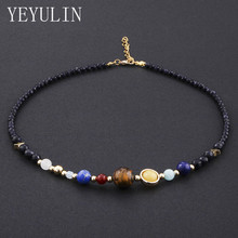Woman Man Natural Stone Beaded Necklace Universe Galaxy The Eight Planets In The Solar System Guardian Star Jewelry Gift(China)