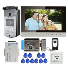 "MILEVIEW New 10"" LCD Color Screen Video Door Phone Intercom + Outdoor RFID Reader Doorbell Camera + Electric Lock Free Shipping"