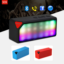 X3S Mini Multi-Color Flash LED Light Wireless Speaker With Built-in Microphone Support USB AUX FM Radio TF Card