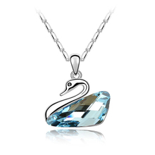 Austrian Crystal Blue Swan Necklace Pendant Fashion Design Women Famous Brand Jewelry Jewellery Classic Bijoux Accessories Gifts(China)