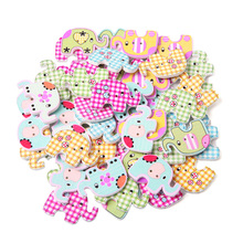 50Pcs/Bag Useful Bulk Cute 2 Holes Elephant Baby Wooden Sewing Buttons Scrapbooking For Home DIY Sewing
