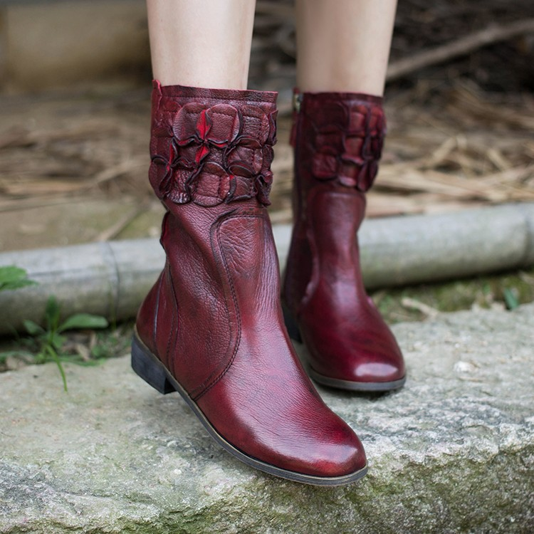2015 New Arrival Winter Women Flat Boots Retro Style Full Grain Leather Knight Boots Mid-calf Boots for Women<br><br>Aliexpress