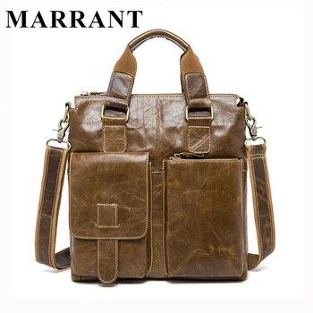 Marrant genuíno couro de homens saco maleta sacos do mensageiro dos homens da marca de moda homem bolsa de negócios masculino bolsa de ombro bolsa tote 8259