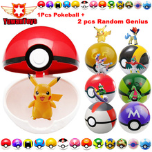 1Pcs Pokeball + 2pcs Free Random Figures 7CM 13 Style Inside Japan Anime Toys with Pikachu Toys For Children Gifts
