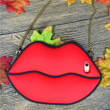 1 Pc/lot Soft Silicone Red Big Sexy Mouth Long Chain Cover Cell Phone Case For iPhone 6 6s Plus
