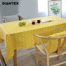 GIANTEX Yellow Chessboard Decorative Table Cloth Cotton Linen Tablecloth Dining Table Cover For Kitchen Home Decor U1100(China)