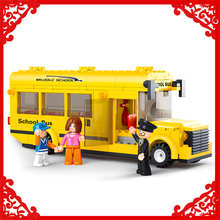 SLUBAN 0507 218Pcs Mini Yellow School Bus Model Building Block Construction Figure Toys Gift For Children Compatible Legoe(China)