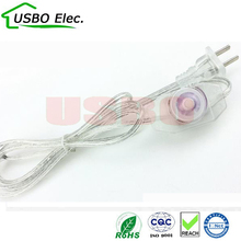 US transparent 2c*0.75mm 1.8m 250V PVC Copper AC power Dimmer switch power cable LED Energy saving light bulbs power cord