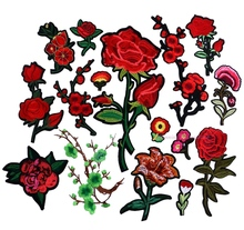 Embroidered Rose Patches Iron On Sequins Flower Patch DIY Hotfix Motifs Sewing On Appliques New High Quality