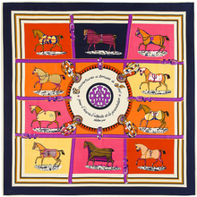 Twill Silk French design Ten Horses Pattern Printed Women Gift Silk 100cm*100cm square Scarves shawl