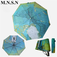 2017 New World Map Drop Umbrella Rain Women Full-Automatic Anti-UV Windproof Large parasol Sunny/Rainy Folding paraguas JY0600
