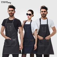 2017 New Aprons Denim Simple Antifouling Uniform Unisex Adult Aprons for Woman Men's Male Lady's Kitchen Cooking Pinafores DJ079