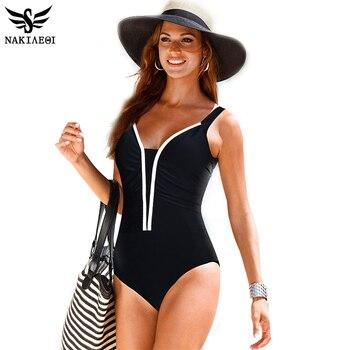 NAKIAEOI Maillot Une Pièce Femmes Maillots De Bain Rétro Femme Plus La Taille de Maillots De Bain 2016 Vintage Grand Maillot de bain De Bain Beachwear Noir