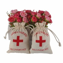 50pcs Hangover Kit 10x14cm Wedding Favor Holder Bag Red Cross Cotton Linen Gift Bags Recovery Survival Kit Event Party Supplier(China)