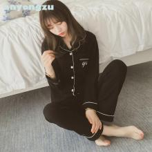 1piece Anyongzu New Cute English Letter Female Autumn Winter Thin Pajamas Cotton Cardigan Casual Suit Home Women's Sleep Tops(China)