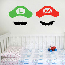 2pcs Super Mario Brothers Video Game Luigi Nintendo Stickers Onesie Window Wall Decal Mario Wallpaper Mural Art Baby Kids Boy