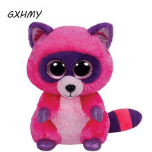 GXHMY Original Ty Beanie Boos Big Eyes Plush Toy Doll Colorful Pink Coon Baby Kids Gift 10-15 cm WJ159