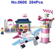 0608 284pcs Girl Friend Pink Dream Lighthouse Beacon Airport Building Block Brick Toy(China)