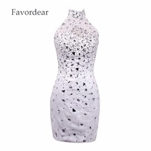Favordear Arrival High White Color Fashion Arrival Short Sleeve Lace Cocktail Dress A-line Beadings Knee Length Cocktail Dress