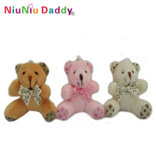 Hot sale 5.5cm Plush cute bear keychain with 3 colors Plush toys wholesale 60pcs/lot