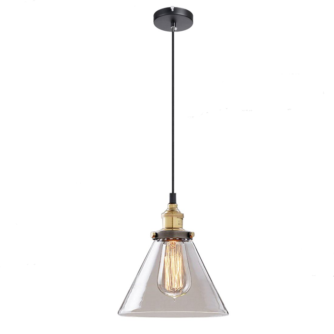 8.7 Clear Glass Fixture Vintage Industrial Pendant Lamp Fixture Hanging Light (diameter 18cm)<br>