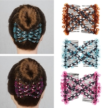 Fashion Magic Beads Elasticity Double Hair Comb Clip Stretchy Women Hair Accessories